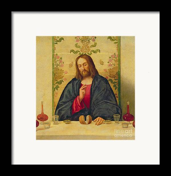 Jesus Framed Print featuring the painting The Supper At Emmaus by Vincenzo di Biaio Catena