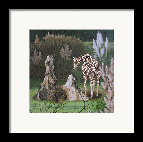 Giraffe Framed Print featuring the painting The Termite Mounds by Sandra Chase