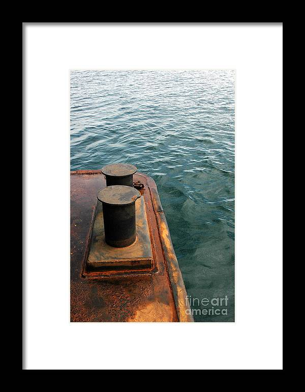 Ship Framed Print featuring the photograph The Tether Strap On A Pontoon Boat by Antoni Halim