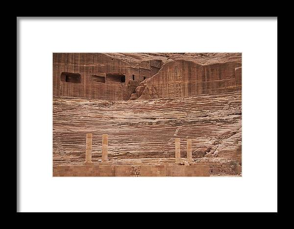 Petra Framed Print featuring the photograph The Theater Carved Out Of A Rock Wall by Taylor S. Kennedy