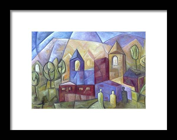 Landscape Framed Print featuring the painting The Three Visitors by Trish Toro