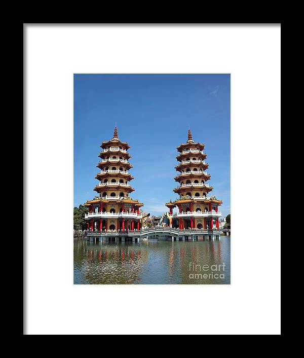 Kaohsiung Framed Print featuring the photograph The Tiger And Dragon Pagodas by Yali Shi
