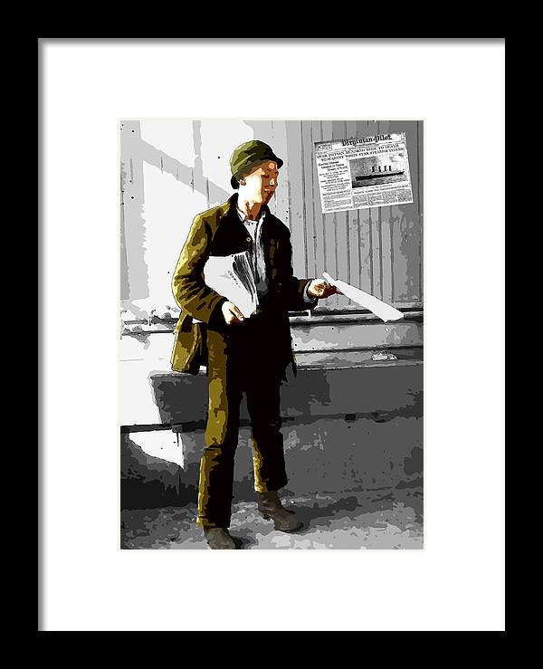 Paper New Paperboy Seller Selling Disaster Titanic 1912 Sunk Extra News Post Framed Print featuring the digital art The Titanic Disaster by Steve K