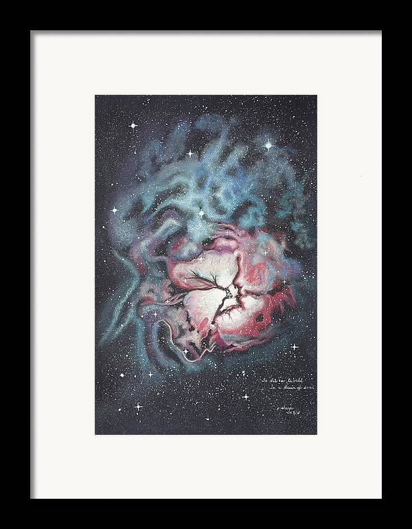 Outer Space Framed Print featuring the painting The Trifid Nebula by Patsy Sharpe