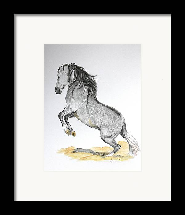 Andalusian Horse Framed Print featuring the painting The Turn by Janina Suuronen