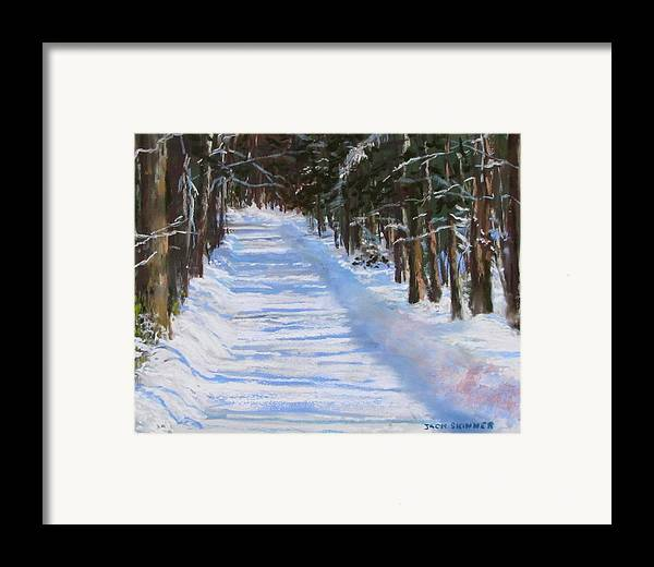 Snow Framed Print featuring the painting The Valley Road by Jack Skinner