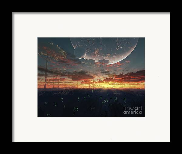 Artwork Framed Print featuring the digital art The View From An Alien Moon Towards by Brian Christensen