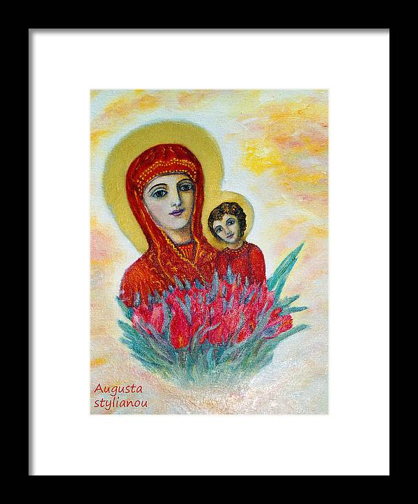 Virgin Framed Print featuring the painting The Virgin And The Child by Augusta Stylianou