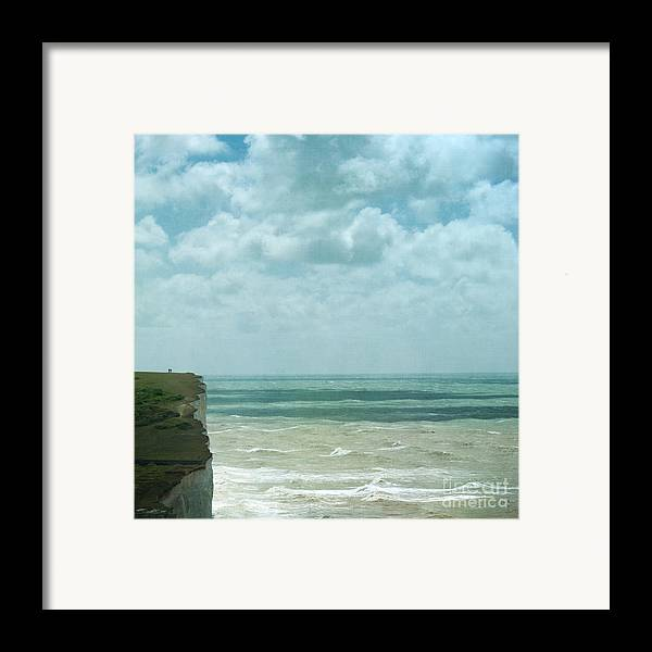 Waves Below Us Cliffs Channel Sea England South Coast Chalk Textures Flypaper Classic Defence Romance Isolation Fresh Private English Britain Uk Europe Framed Print featuring the photograph The Waves Bellow Us by Paul Grand