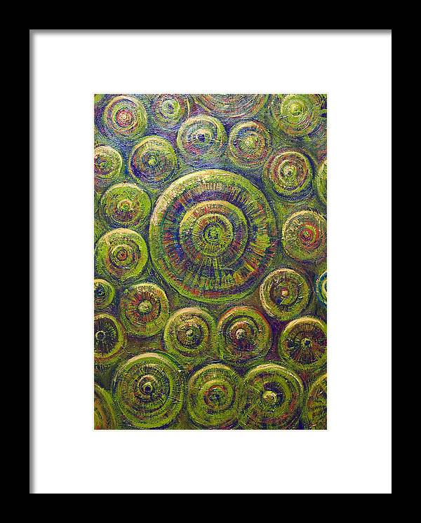 Circle Pattern Framed Print featuring the painting The Wheels by Kazuya Akimoto