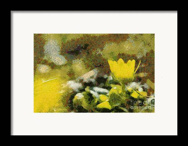 Odon Framed Print featuring the painting The Yellow Flower by Odon Czintos