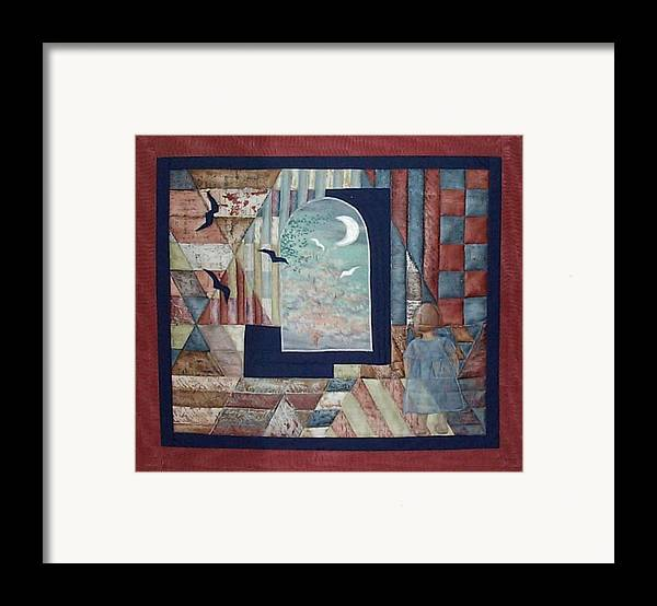 Collage Framed Print featuring the tapestry - textile There Is A Place... by Gun Legler