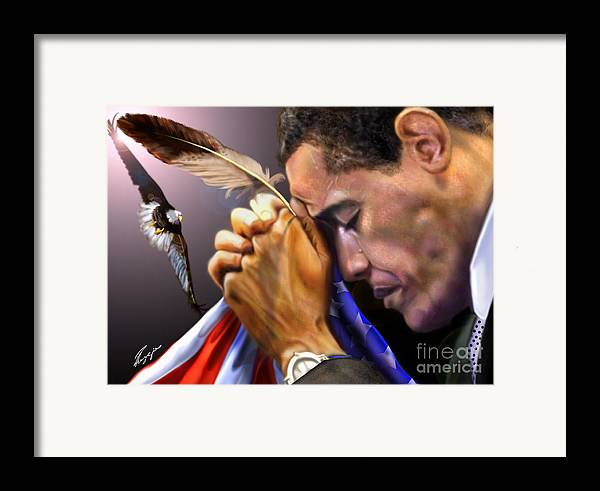 American Flag Framed Print featuring the painting They Shall Mount Up With Wings Like Eagles - President Obama by Reggie Duffie