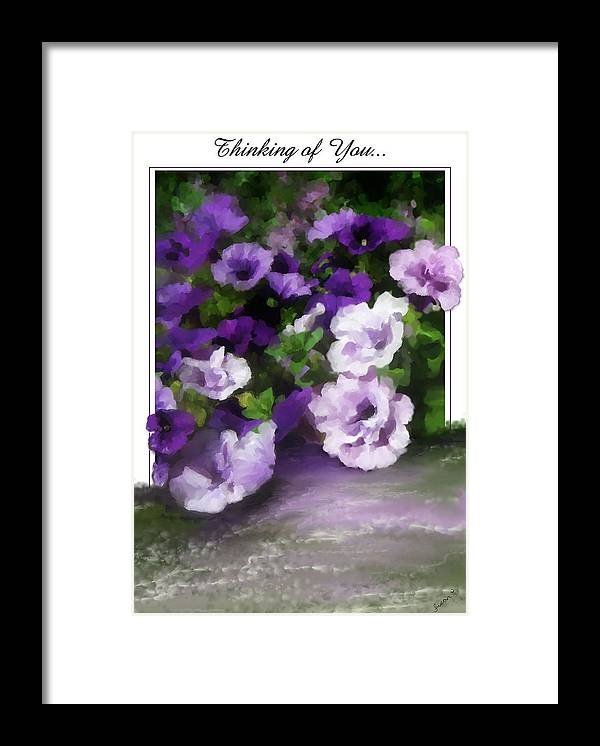 Greeting Card Framed Print featuring the painting Thinking of You by Susan Kinney