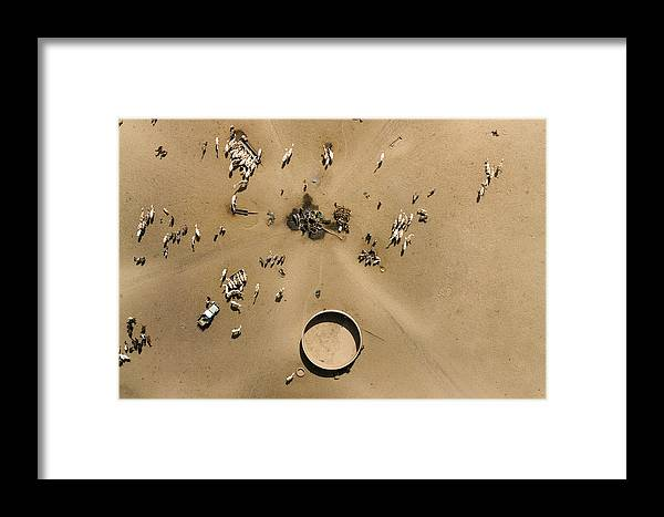 Landscape Framed Print featuring the photograph This Saharan Well Attracts Livestock by Michael Fay