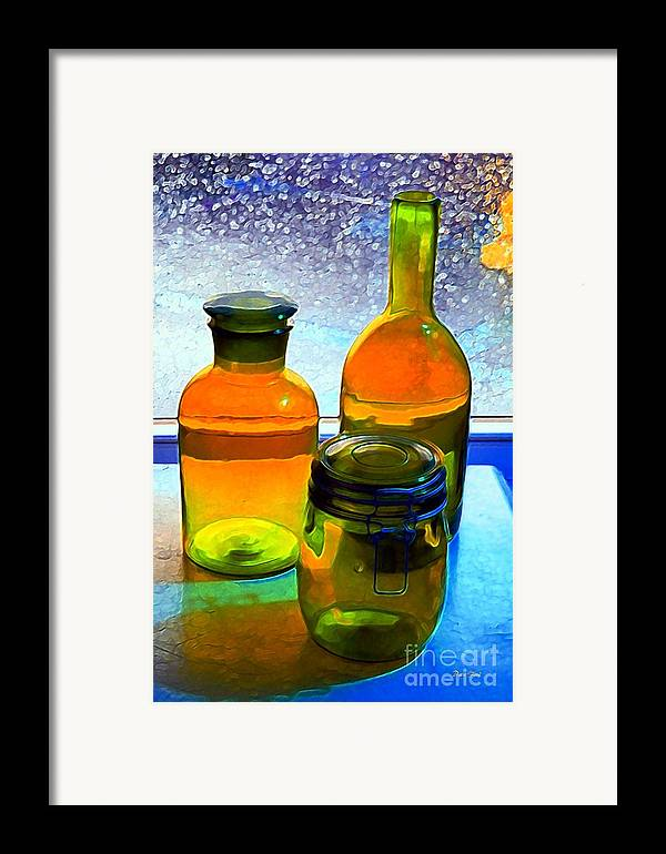 Bottles Framed Print featuring the digital art Three Bottles In Window by Dale  Ford