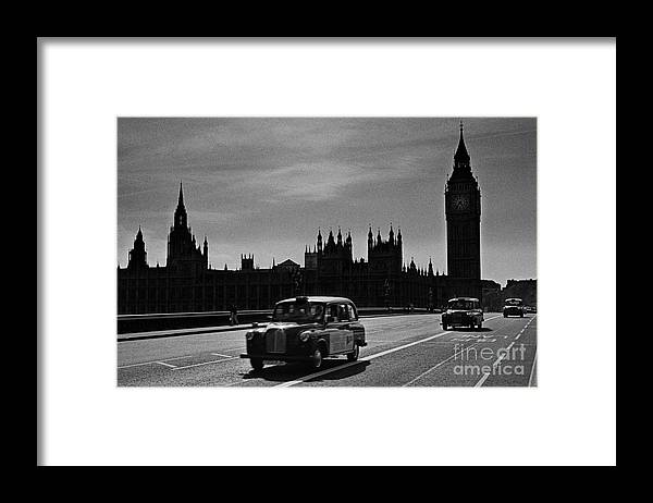 London Cabs Framed Print featuring the photograph Three Cabs and Westminster by Aldo Cervato