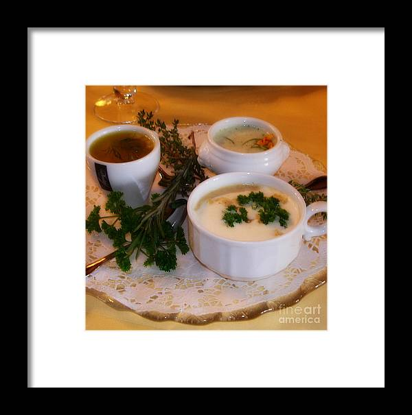 Kitchen Framed Print featuring the photograph Three Cups Of Soup by Tanya Searcy
