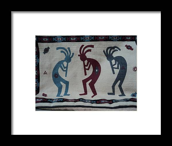 Kokopelli Framed Print featuring the mixed media Three Flute Players Kokopelli Style by Anne-Elizabeth Whiteway