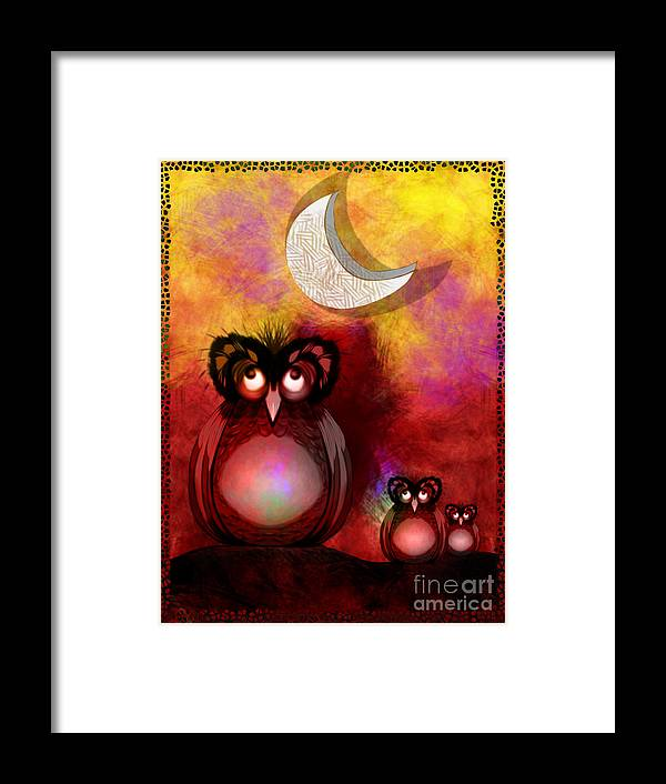 Owls Framed Print featuring the digital art Three Owls by J Kinion