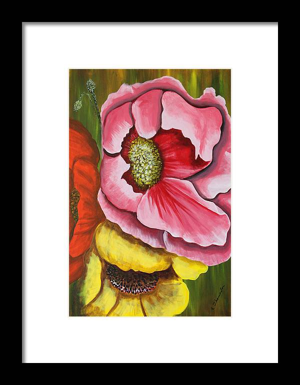 Floral Framed Prints Framed Print featuring the painting Three Strange Poppys by Robert Thomaston