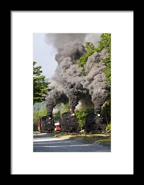 Cass Trains Railroad cass Scenic Railroad west Virginia Steam Locomotive steam Locomotive Railway Rural Scenic Shay Rails Trails Old Framed Print featuring the photograph Three Train Race by Tom Steele