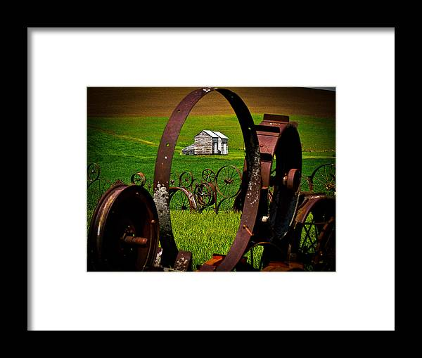 Dahmer Barn Framed Print featuring the photograph Through The Fence by Tony and Kristi Middleton