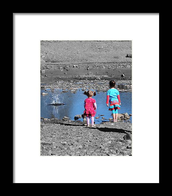 Children Framed Print featuring the photograph Throwing Stones by Paul Ward