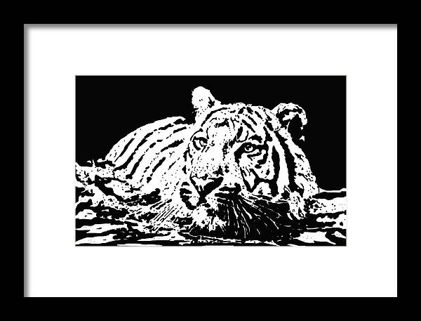 Tiger Framed Print featuring the drawing Tiger 2 by Lori Jackson