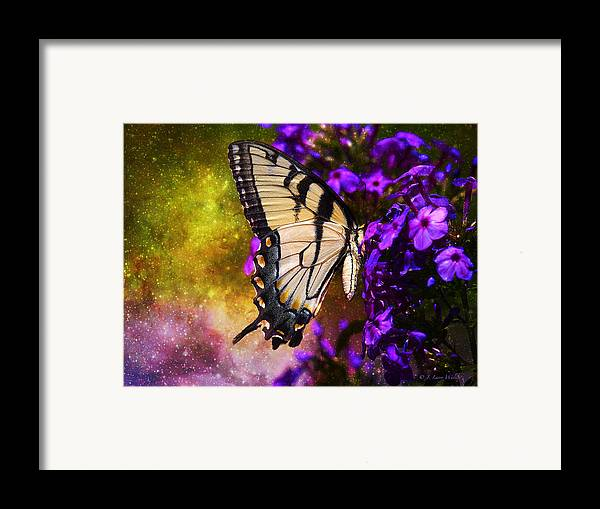J Larry Walker Framed Print featuring the digital art Tiger Swallowtail Feeding In Outer Space by J Larry Walker