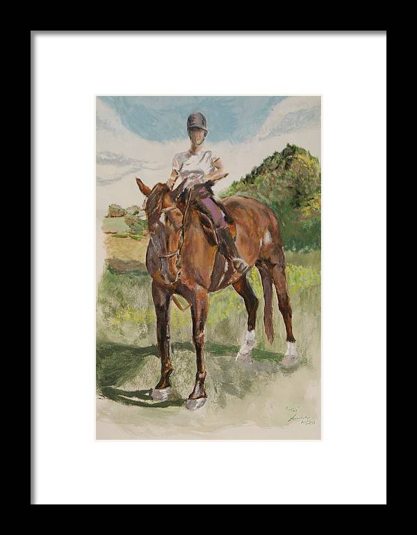 Horse Framed Print featuring the painting Tim 'n' Me by Belinda Wroe