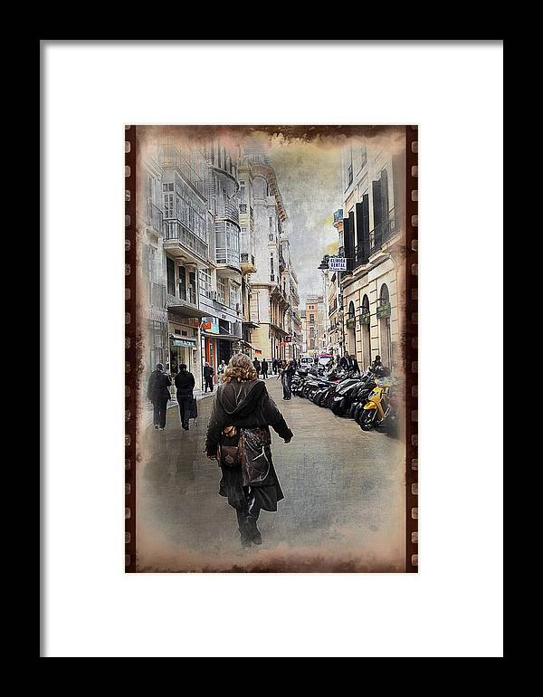 Time Framed Print featuring the photograph Time Warp In Malaga by Mary Machare