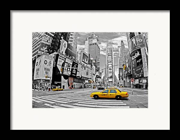 Times Square Framed Print featuring the photograph Times Square - New York by Marcel Schauer