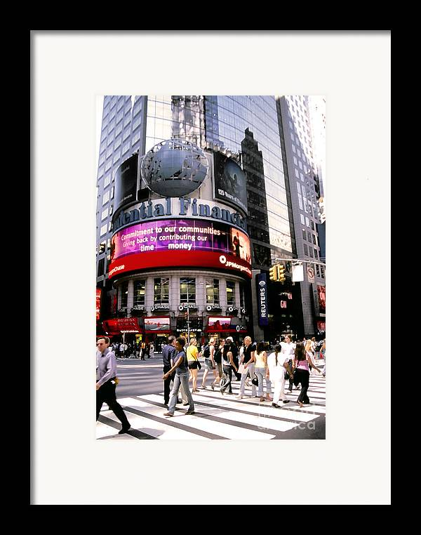 Nyc Framed Print featuring the photograph Times Square Corner by Linda Parker