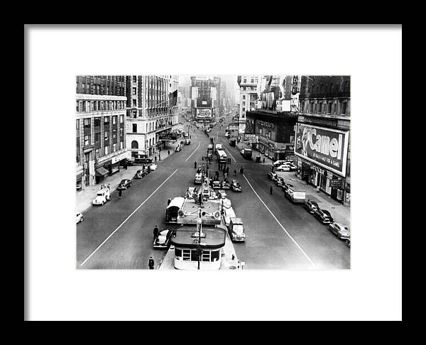 1950s Framed Print featuring the photograph Times Square, Looking North by Everett