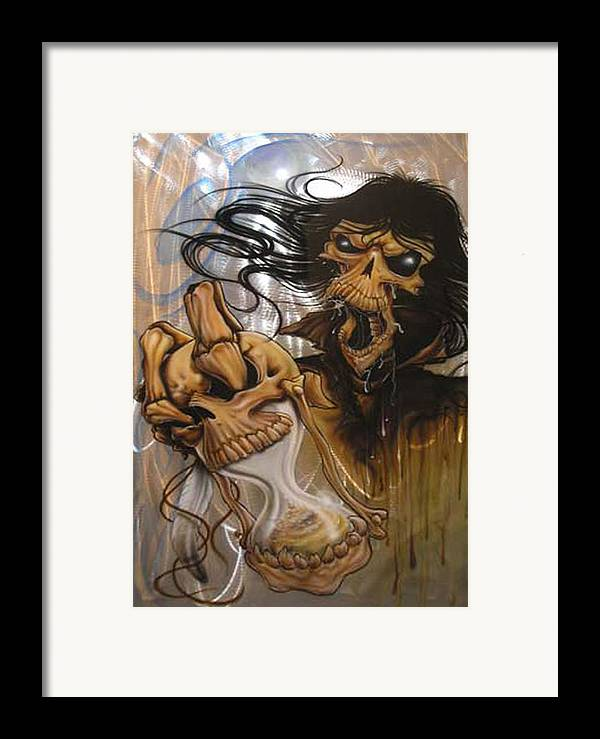Skull Framed Print featuring the painting Times Up by Mike Royal