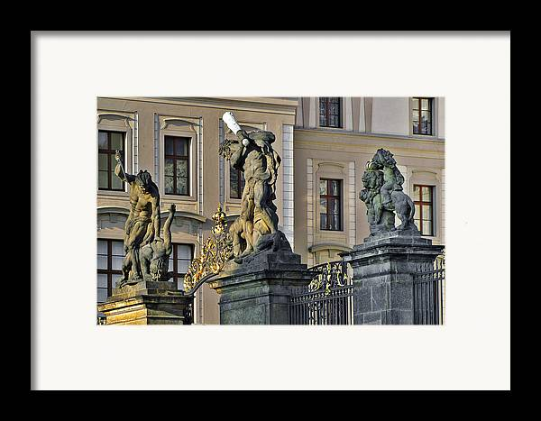 Prague Framed Print featuring the photograph Titans Battling Outside Prague Castle by Christine Till