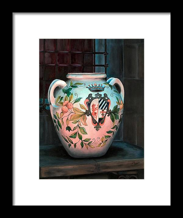Urn Framed Print featuring the painting Tlaguepaque Urn by Judith Koppes