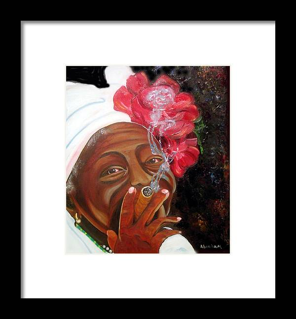 Cuban Art Framed Print featuring the painting Tobacco Lady by Jose Manuel Abraham