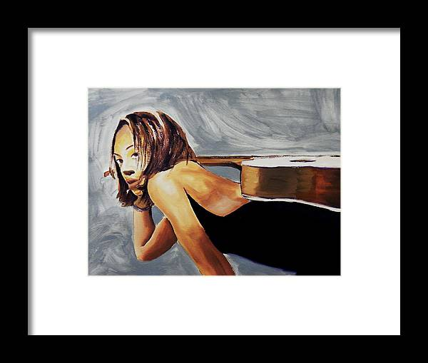 Framed Print featuring the painting Tonya With Guitar On Back by Clayton Singleton
