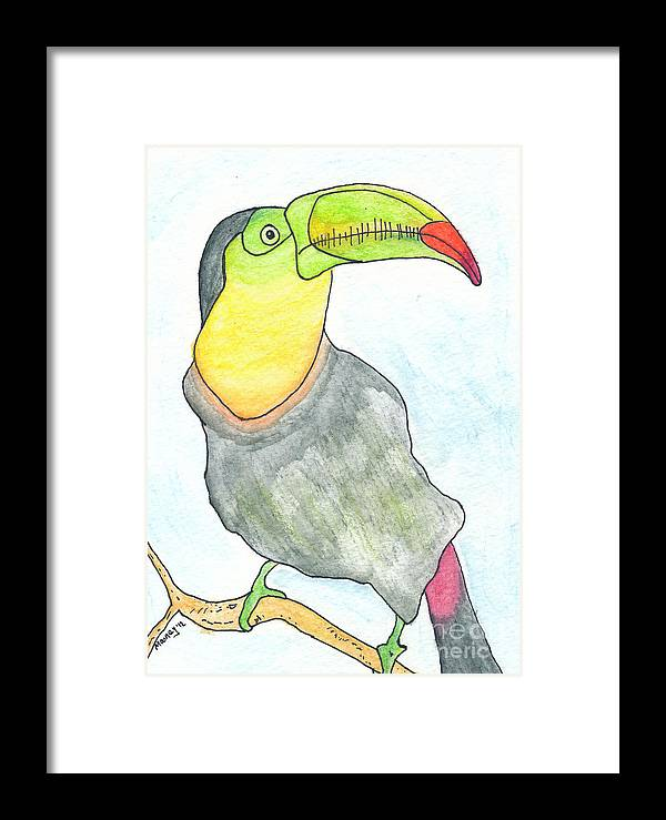 Toucan Bird Framed Print featuring the drawing Tooooouc by Michael Mooney