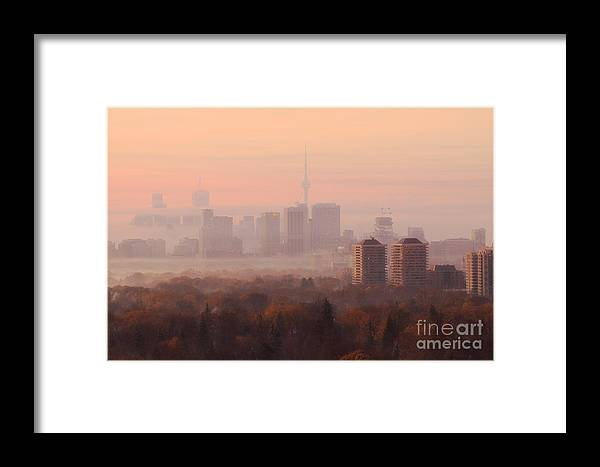 Toronto Framed Print featuring the photograph Toronto Foggy Sunrise by Charline Xia