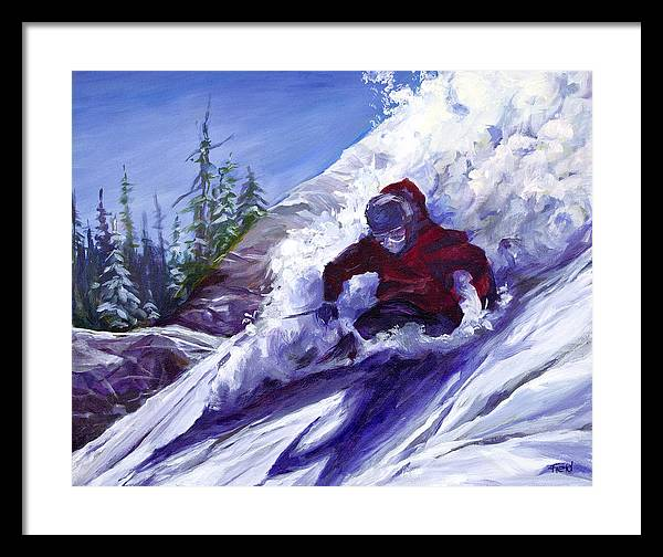 Skier Attacking Downhill Powder Slopes Framed Print featuring the painting Torpedo by Barbara Field