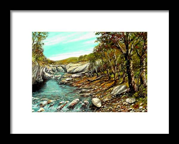 Framed Print featuring the painting torrente Farma by Sandro Mulinacci