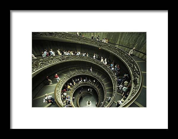 Color Image Framed Print featuring the photograph Tourists Descend The Double Spiral by Paul Chesley