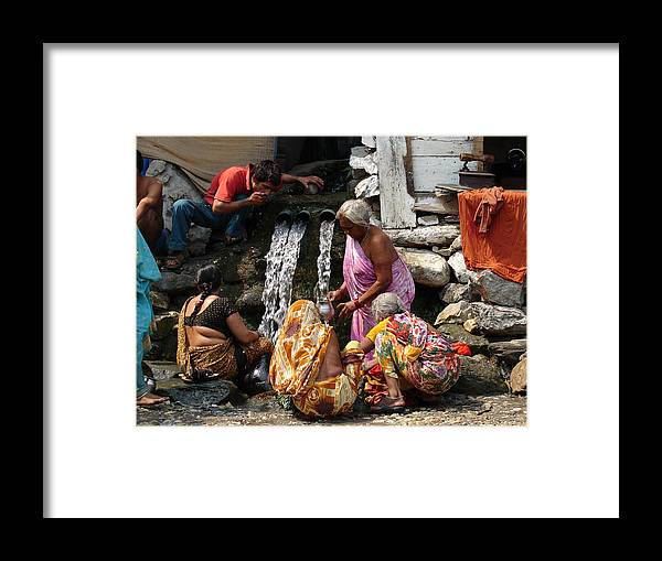 Splendors Of Himalayas---photography Portraits Framed Print featuring the photograph Tourists Getting Ready by Anand Swaroop Manchiraju