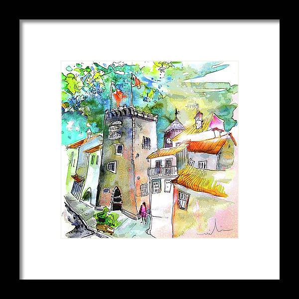 Portugal Framed Print featuring the painting Tower in Ponte de Lima in Portugal by Miki De Goodaboom