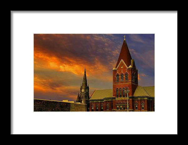 Church Framed Print featuring the photograph Towers Of Faith by Brian Fisher
