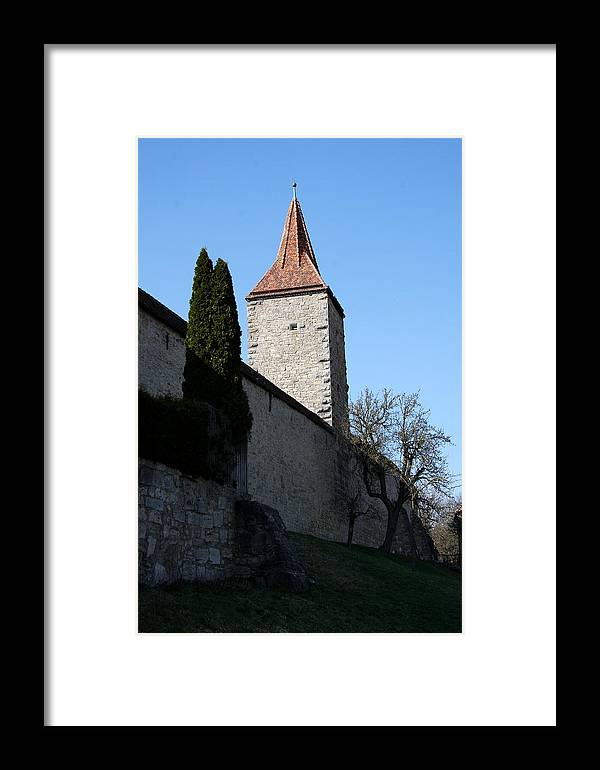Town Wall Framed Print featuring the photograph Town Wall And Tower - Rothenburg by Christiane Schulze Art And Photography