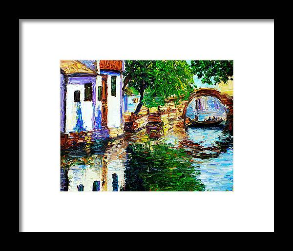 Landscape Framed Print featuring the painting Town With Water Streets by Nelson